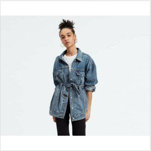 LEVI'S LONG BELTED TRUCKER DENIM JEAN JACKET M
